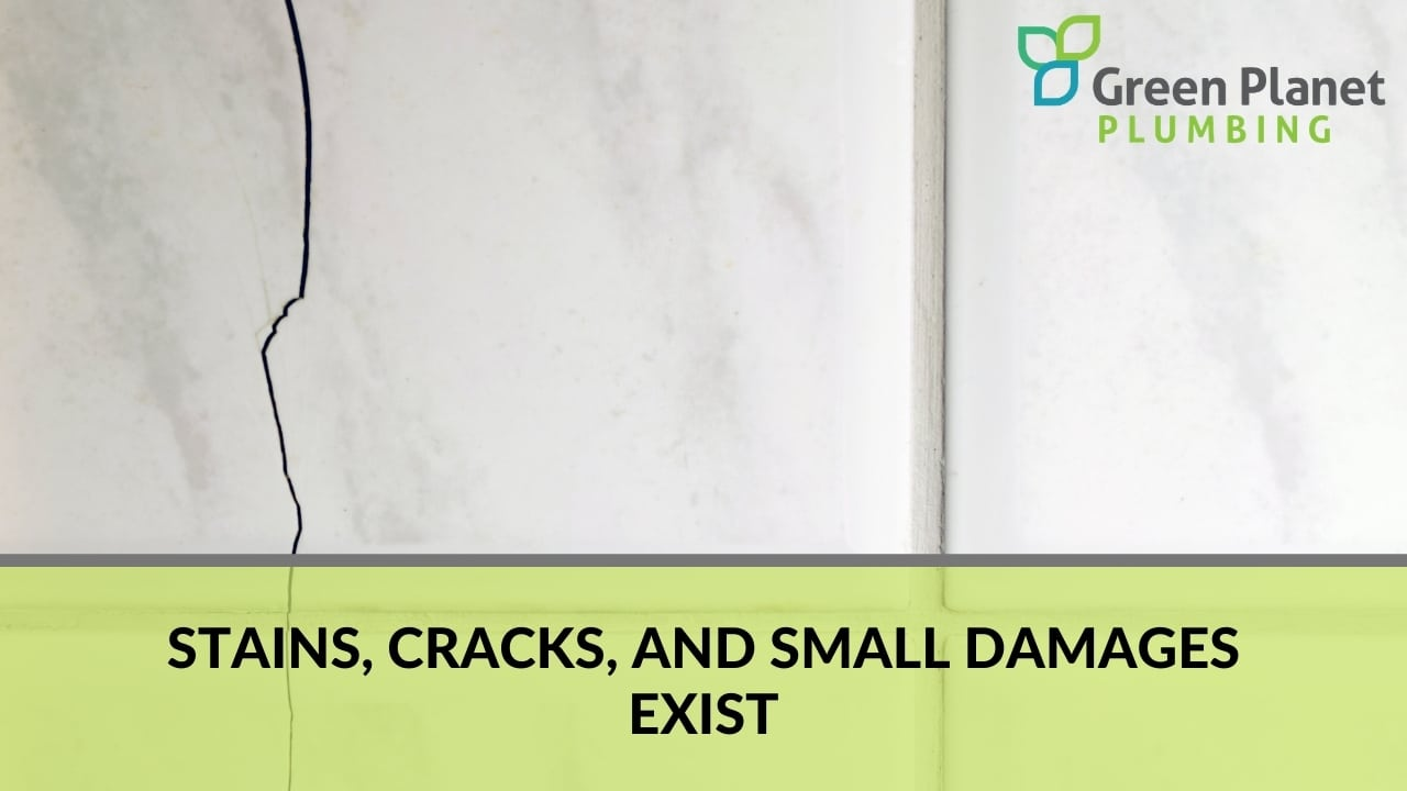 Stains, cracks, and small damages exist