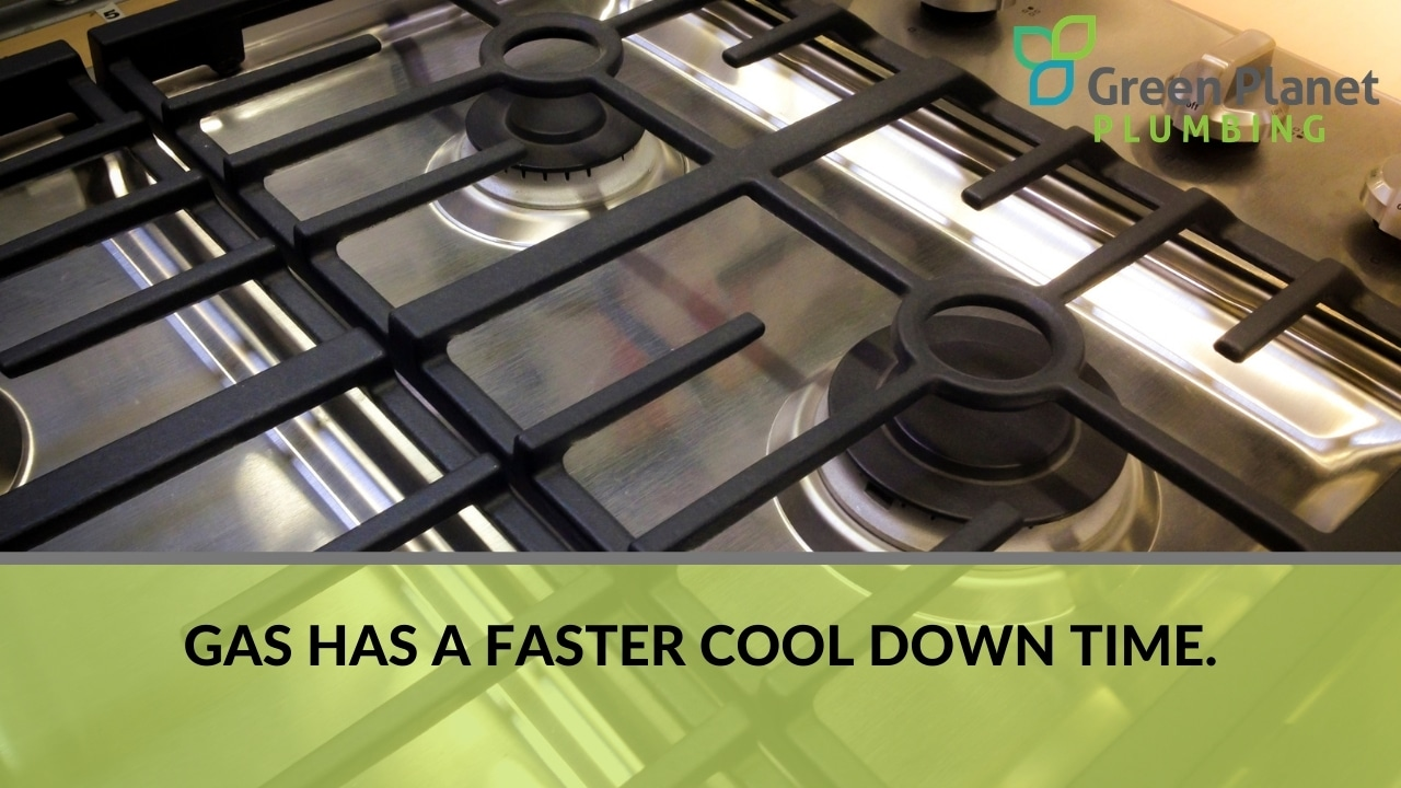 Gas has a faster cool down time