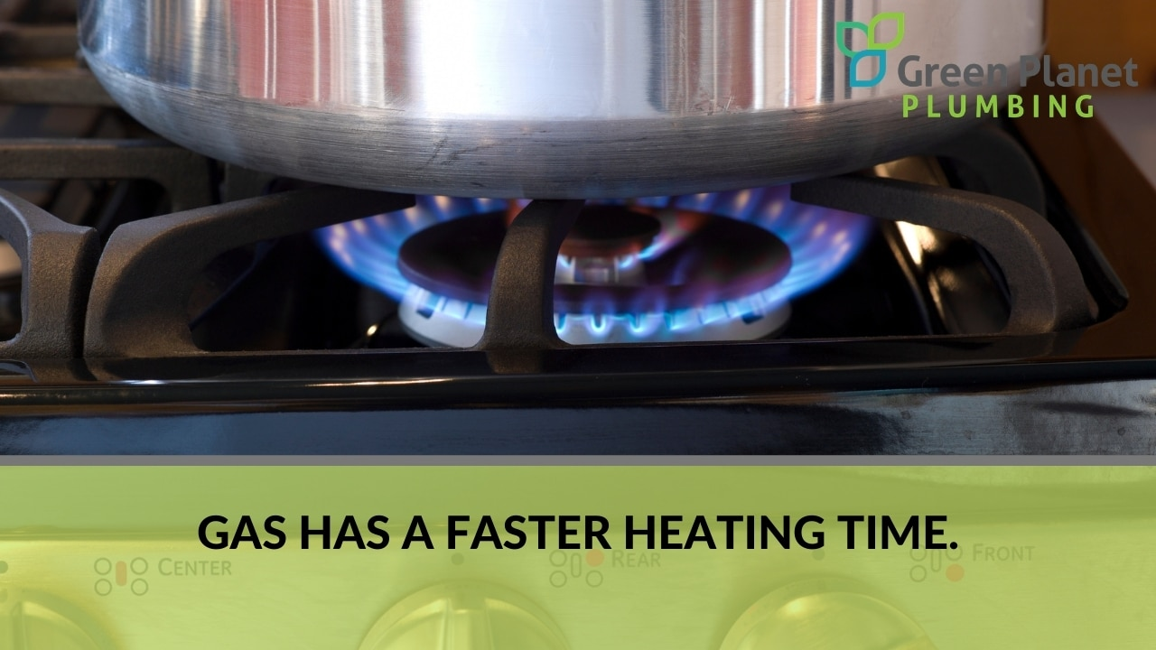 Gas has a faster heating time.
