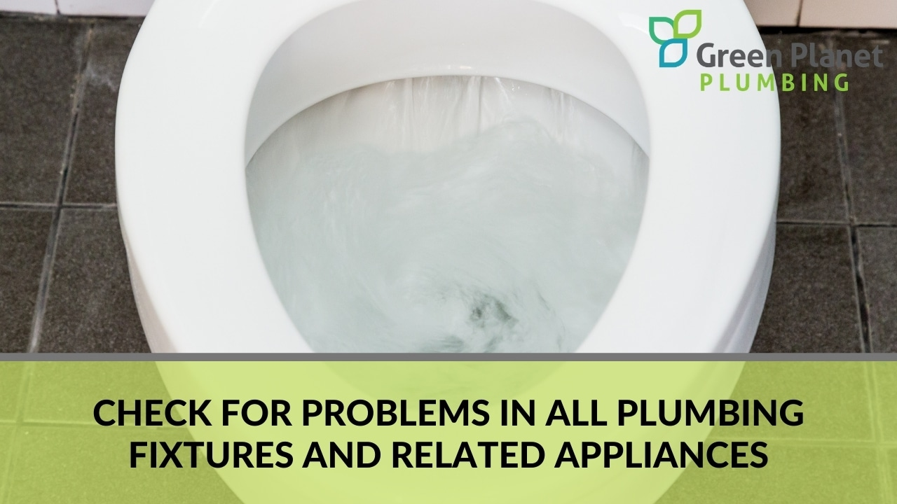 Check for problems in all plumbing fixtures and related appliances